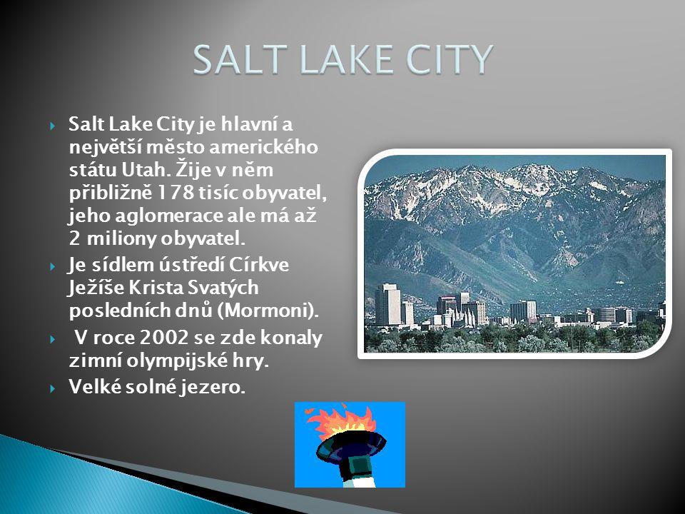  Salt Lake City je hlavní a největší město amerického státu Utah. Žije v něm přibližně 178 tisíc obyvatel, jeho aglomerace ale má až 2 miliony obyvat