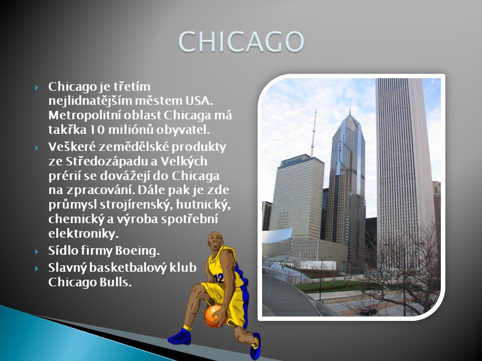  Chicago je třetím nejlidnatějším městem USA. Metropolitní oblast Chicaga má takřka 10 miliónů obyvatel.  Veškeré zemědělské produkty ze Středozápad