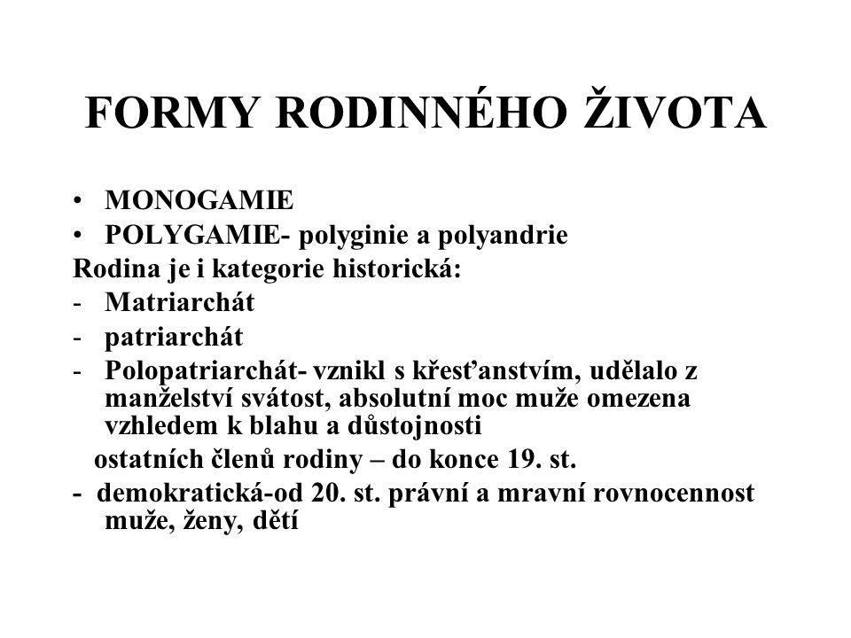 FORMY RODINNÉHO ŽIVOTA MONOGAMIE POLYGAMIE- polyginie a polyandrie Rodina je i kategorie historická: -Matriarchát -patriarchát -Polopatriarchát- vznik