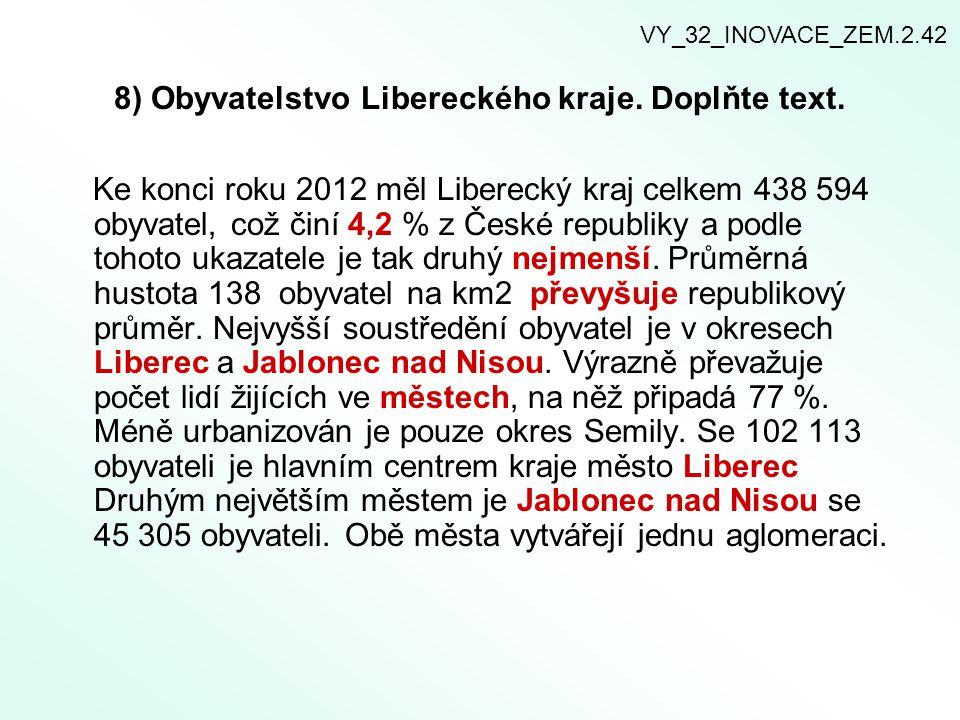 8) Obyvatelstvo Libereckého kraje. Doplňte text. Ke konci roku 2012 měl Liberecký kraj celkem 438 594 obyvatel, což činí 4,2 % z České republiky a pod