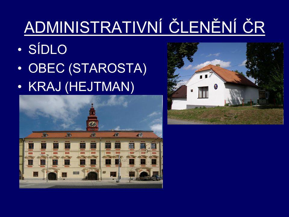 ADMINISTRATIVNÍ ČLENĚNÍ ČR SÍDLO OBEC (STAROSTA) KRAJ (HEJTMAN)