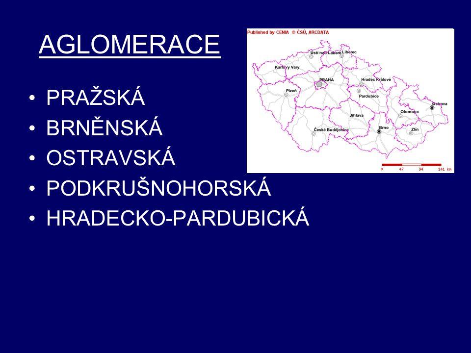 AGLOMERACE PRAŽSKÁ BRNĚNSKÁ OSTRAVSKÁ PODKRUŠNOHORSKÁ HRADECKO-PARDUBICKÁ