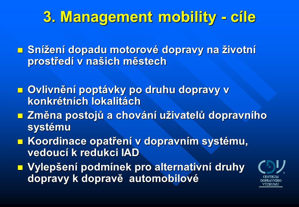 3. Management mobility - cíle n Snížení dopadu motorové dopravy na životní prostředí v našich městech n Ovlivnění poptávky po druhu dopravy v konkrétn