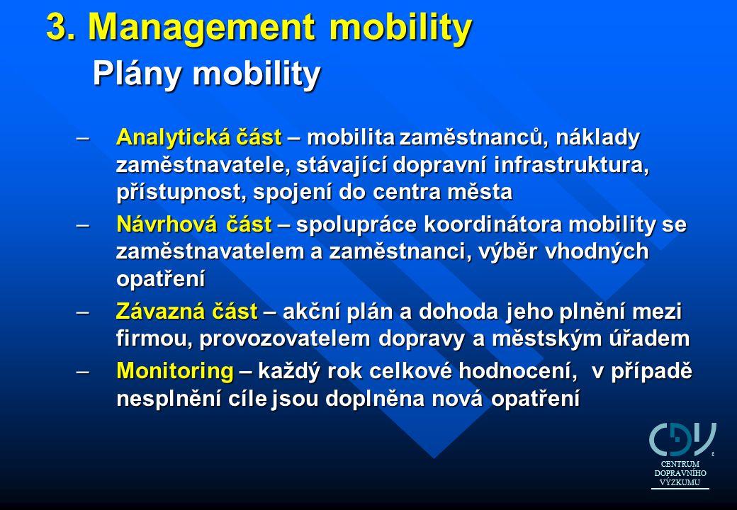 3. Management mobility Plány mobility 3. Management mobility Plány mobility –Analytická část – mobilita zaměstnanců, náklady zaměstnavatele, stávající