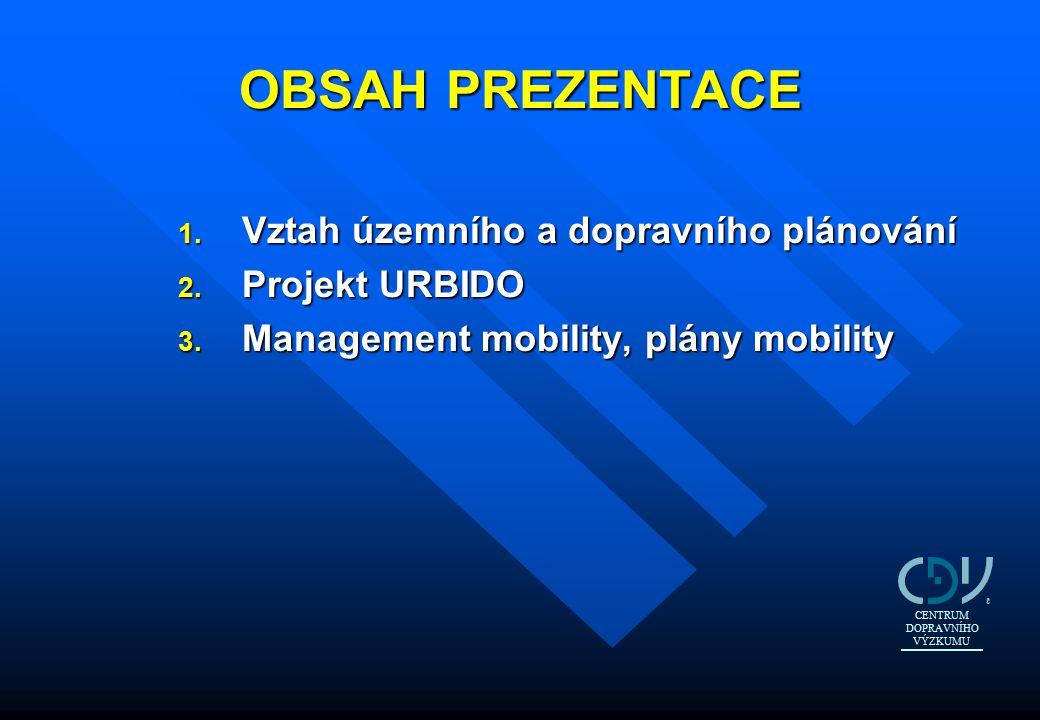 OBSAH PREZENTACE 1. Vztah územního a dopravního plánování 2. Projekt URBIDO 3. Management mobility, plány mobility CENTRUM DOPRAVNÍHO VÝZKUMU