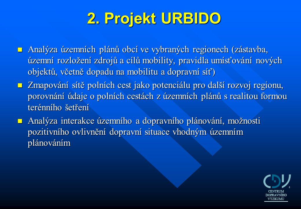 2. Projekt URBIDO n Analýza územních plánů obcí ve vybraných regionech (zástavba, územní rozložení zdrojů a cílů mobility, pravidla umísťování nových