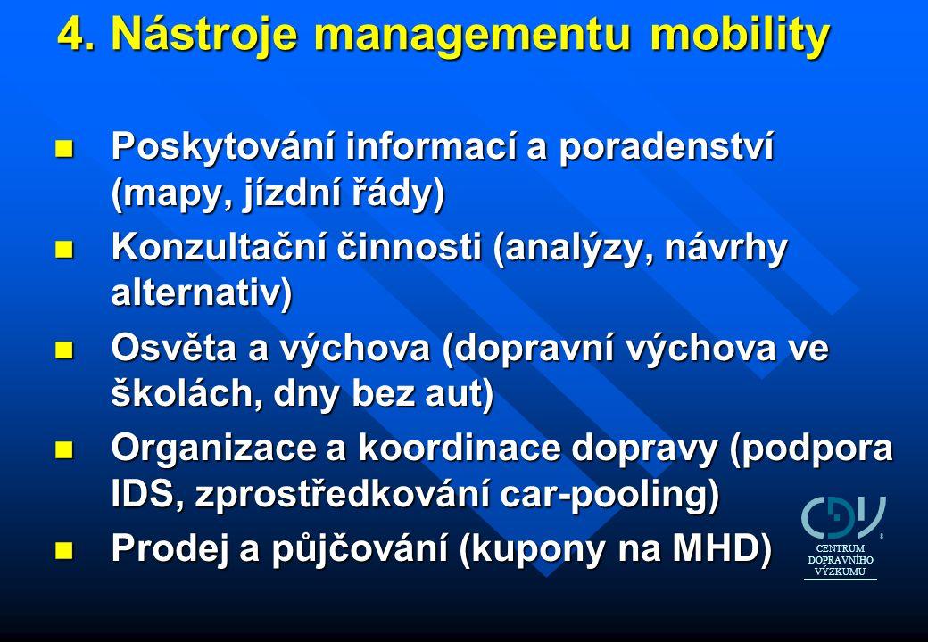 4. Nástroje managementu mobility 4. Nástroje managementu mobility n Poskytování informací a poradenství (mapy, jízdní řády) n Konzultační činnosti (an