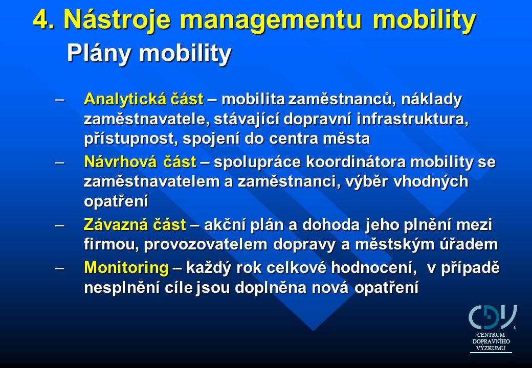4. Nástroje managementu mobility Plány mobility 4. Nástroje managementu mobility Plány mobility –Analytická část – mobilita zaměstnanců, náklady zaměs