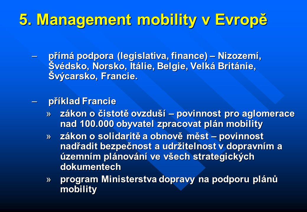 5. Management mobility v Evropě 5. Management mobility v Evropě –přímá podpora (legislativa, finance) – Nizozemí, Švédsko, Norsko, Itálie, Belgie, Vel