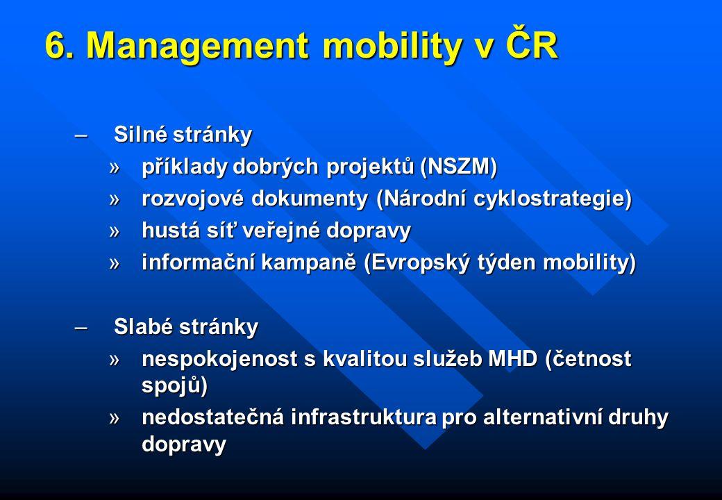 6. Management mobility v ČR 6. Management mobility v ČR –Silné stránky »příklady dobrých projektů (NSZM) »rozvojové dokumenty (Národní cyklostrategie)