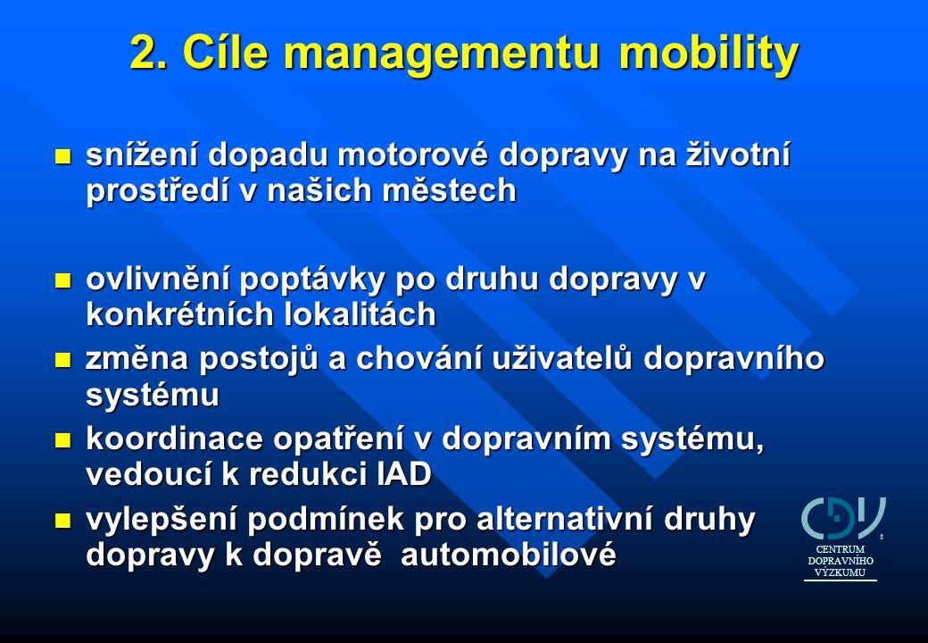 2. Cíle managementu mobility n snížení dopadu motorové dopravy na životní prostředí v našich městech n ovlivnění poptávky po druhu dopravy v konkrétní