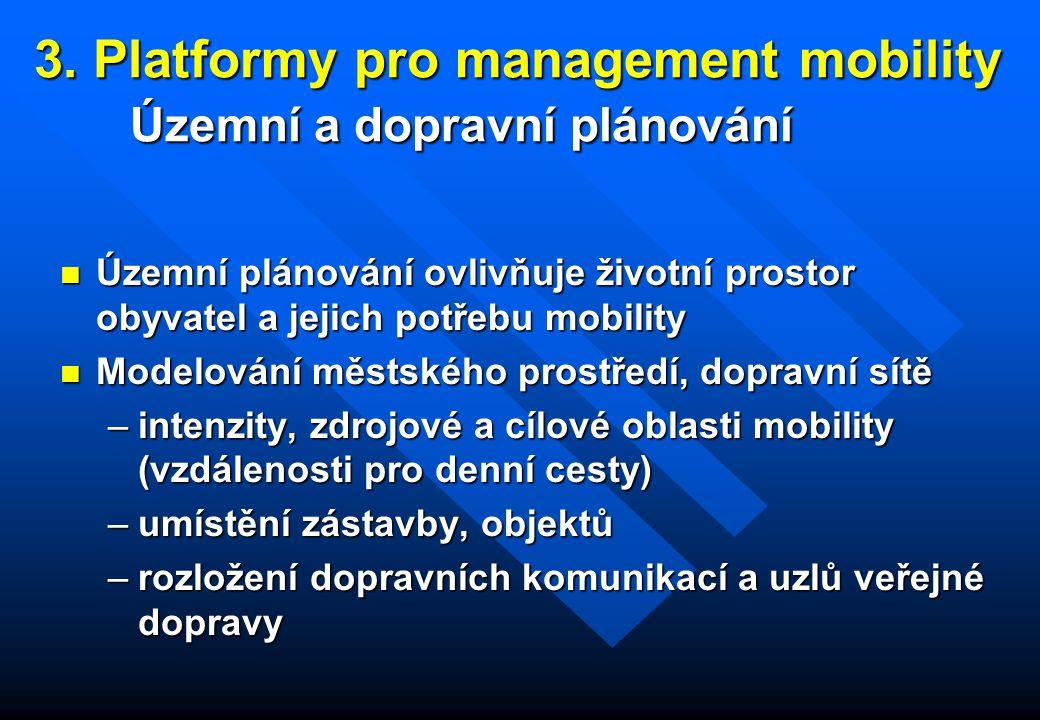 3. Platformy pro management mobility Územní a dopravní plánování n Územní plánování ovlivňuje životní prostor obyvatel a jejich potřebu mobility n Mod