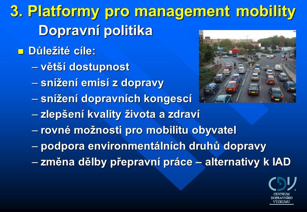 3. Platformy pro management mobility Dopravní politika n Důležité cíle: –větší dostupnost –snížení emisí z dopravy –snížení dopravních kongescí –zlepš