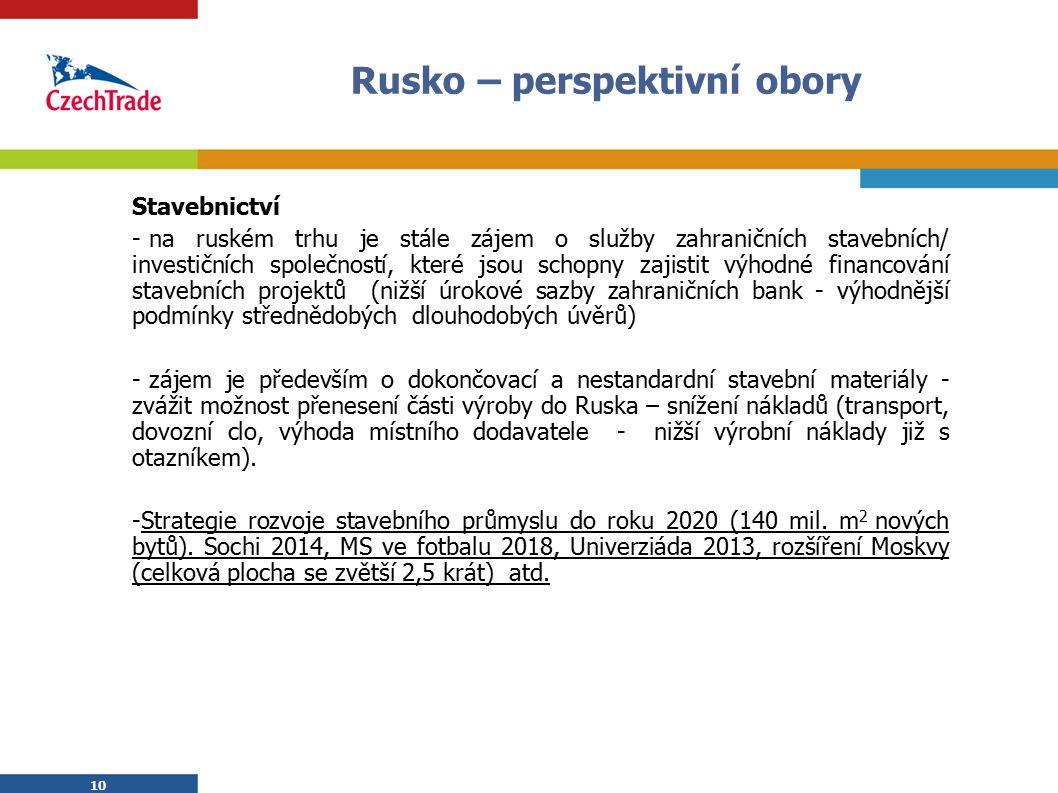10 Rusko – perspektivní obory Stavebnictví - na ruském trhu je stále zájem o služby zahraničních stavebních/ investičních společností, které jsou schopny zajistit výhodné financování stavebních projektů (nižší úrokové sazby zahraničních bank - výhodnější podmínky střednědobých dlouhodobých úvěrů) - zájem je především o dokončovací a nestandardní stavební materiály - zvážit možnost přenesení části výroby do Ruska – snížení nákladů (transport, dovozní clo, výhoda místního dodavatele - nižší výrobní náklady již s otazníkem).