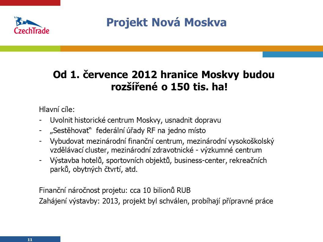 11 Projekt Nová Moskva 11 Od 1. července 2012 hranice Moskvy budou rozšířené o 150 tis. ha! Hlavní cíle: -Uvolnit historické centrum Moskvy, usnadnit