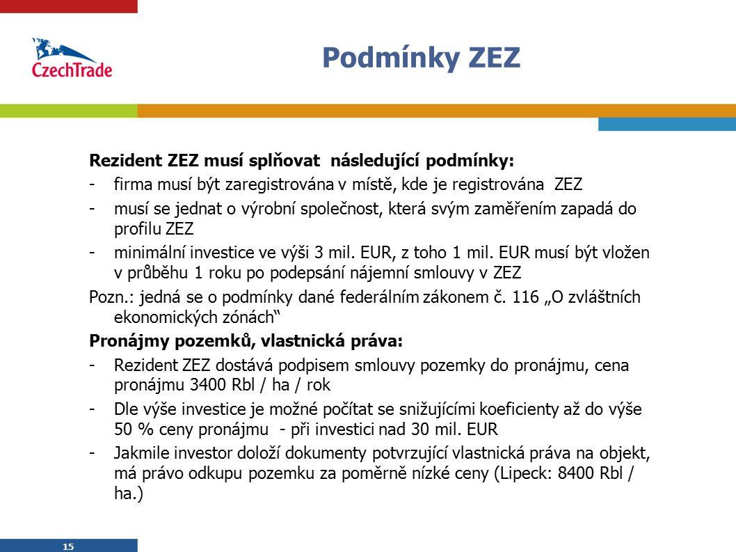 15 Podmínky ZEZ 15 Rezident ZEZ musí splňovat následující podmínky: -firma musí být zaregistrována v místě, kde je registrována ZEZ -musí se jednat o výrobní společnost, která svým zaměřením zapadá do profilu ZEZ -minimální investice ve výši 3 mil.