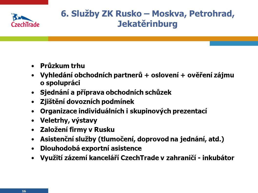 16 6. Služby ZK Rusko – Moskva, Petrohrad, Jekatěrinburg Průzkum trhu Vyhledání obchodních partnerů + oslovení + ověření zájmu o spolupráci Sjednání a