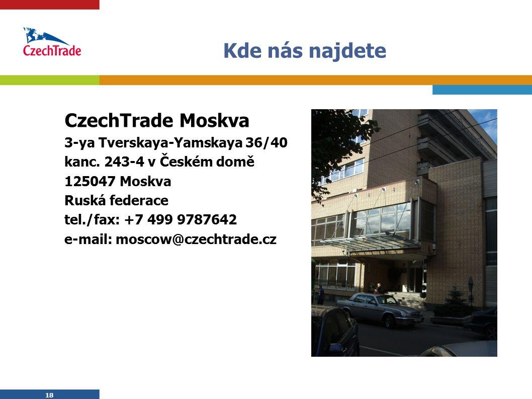 18 Kde nás najdete CzechTrade Moskva 3-ya Tverskaya-Yamskaya 36/40 kanc. 243-4 v Českém domě 125047 Moskva Ruská federace tel./fax: +7 499 9787642 e-m