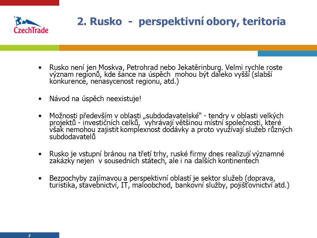 7 2. Rusko - perspektivní obory, teritoria Rusko není jen Moskva, Petrohrad nebo Jekatěrinburg. Velmi rychle roste význam regionů, kde šance na úspěch