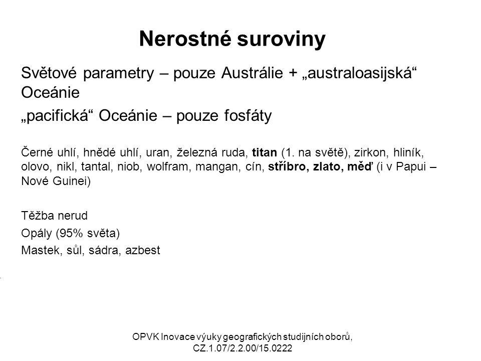 """Nerostné suroviny Světové parametry – pouze Austrálie + """"australoasijská"""" Oceánie """"pacifická"""" Oceánie – pouze fosfáty Černé uhlí, hnědé uhlí, uran, že"""