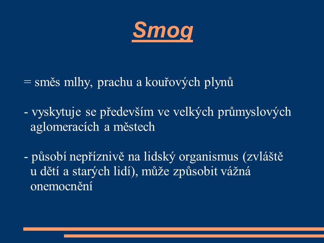 Smog = směs mlhy, prachu a kouřových plynů - vyskytuje se především ve velkých průmyslových aglomeracích a městech - působí nepříznivě na lidský organ
