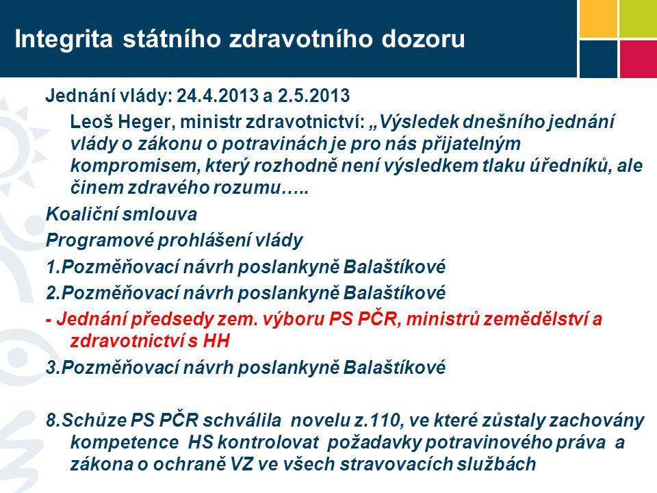 """Integrita státního zdravotního dozoru Jednání vlády: 24.4.2013 a 2.5.2013 Leoš Heger, ministr zdravotnictví: """"Výsledek dnešního jednání vlády o zákonu"""