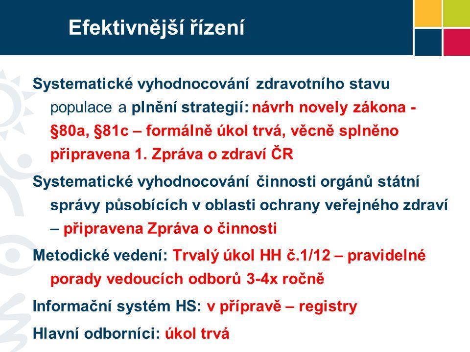 Efektivnější řízení Systematické vyhodnocování zdravotního stavu populace a plnění strategií: návrh novely zákona - §80a, §81c – formálně úkol trvá, v