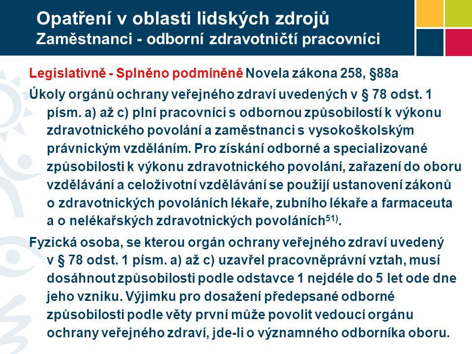 Opatření v oblasti lidských zdrojů Zaměstnanci - odborní zdravotničtí pracovníci Legislativně - Splněno podmíněně Novela zákona 258, §88a Úkoly orgánů