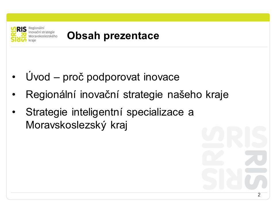 Obsah prezentace 2 Úvod – proč podporovat inovace Regionální inovační strategie našeho kraje Strategie inteligentní specializace a Moravskoslezský kraj