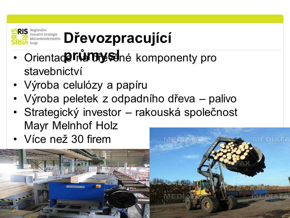 Dřevozpracující průmysl Orientace na dřevěné komponenty pro stavebnictví Výroba celulózy a papíru Výroba peletek z odpadního dřeva – palivo Strategický investor – rakouská společnost Mayr Melnhof Holz Více než 30 firem