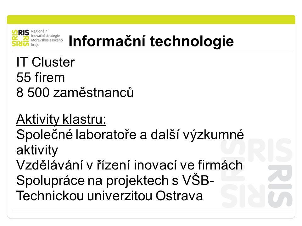 Informační technologie IT Cluster 55 firem 8 500 zaměstnanců Aktivity klastru: Společné laboratoře a další výzkumné aktivity Vzdělávání v řízení inovací ve firmách Spolupráce na projektech s VŠB- Technickou univerzitou Ostrava
