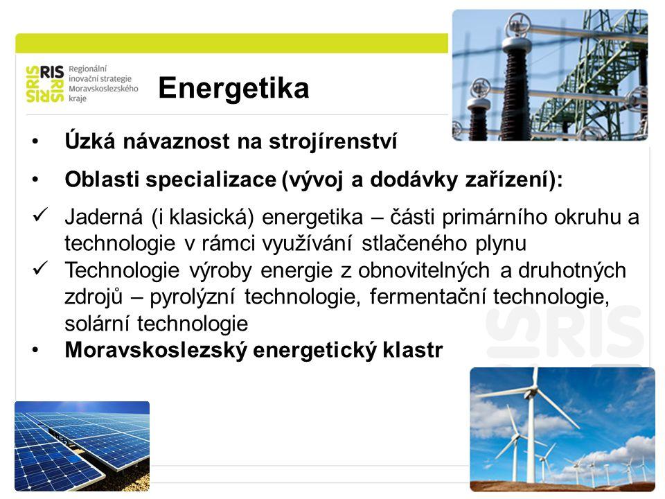 Energetika 26 Úzká návaznost na strojírenství Oblasti specializace (vývoj a dodávky zařízení): Jaderná (i klasická) energetika – části primárního okruhu a technologie v rámci využívání stlačeného plynu Technologie výroby energie z obnovitelných a druhotných zdrojů – pyrolýzní technologie, fermentační technologie, solární technologie Moravskoslezský energetický klastr