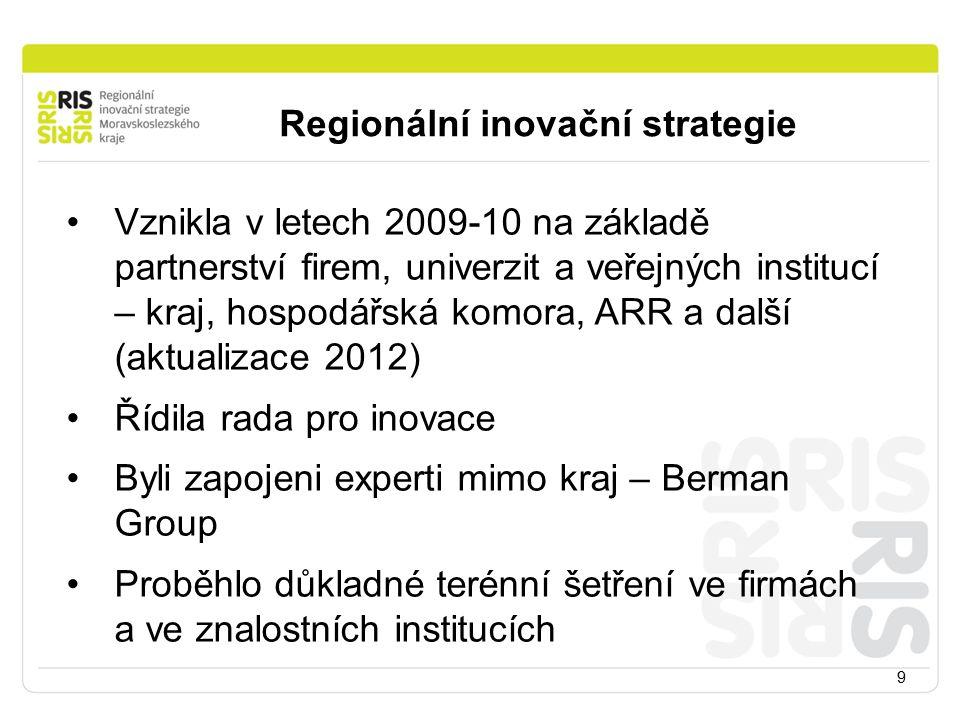 9 Regionální inovační strategie Vznikla v letech 2009-10 na základě partnerství firem, univerzit a veřejných institucí – kraj, hospodářská komora, ARR a další (aktualizace 2012) Řídila rada pro inovace Byli zapojeni experti mimo kraj – Berman Group Proběhlo důkladné terénní šetření ve firmách a ve znalostních institucích