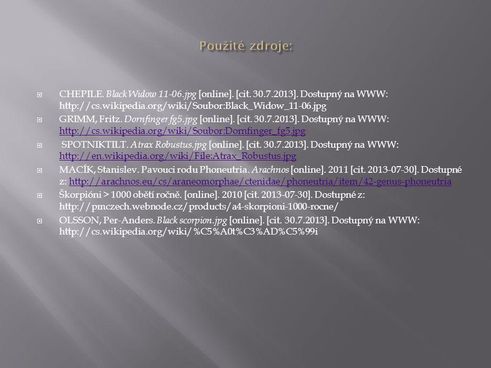  CHEPILE. Black Widow 11-06.jpg [online]. [cit. 30.7.2013]. Dostupný na WWW: http://cs.wikipedia.org/wiki/Soubor:Black_Widow_11-06.jpg  GRIMM, Fritz