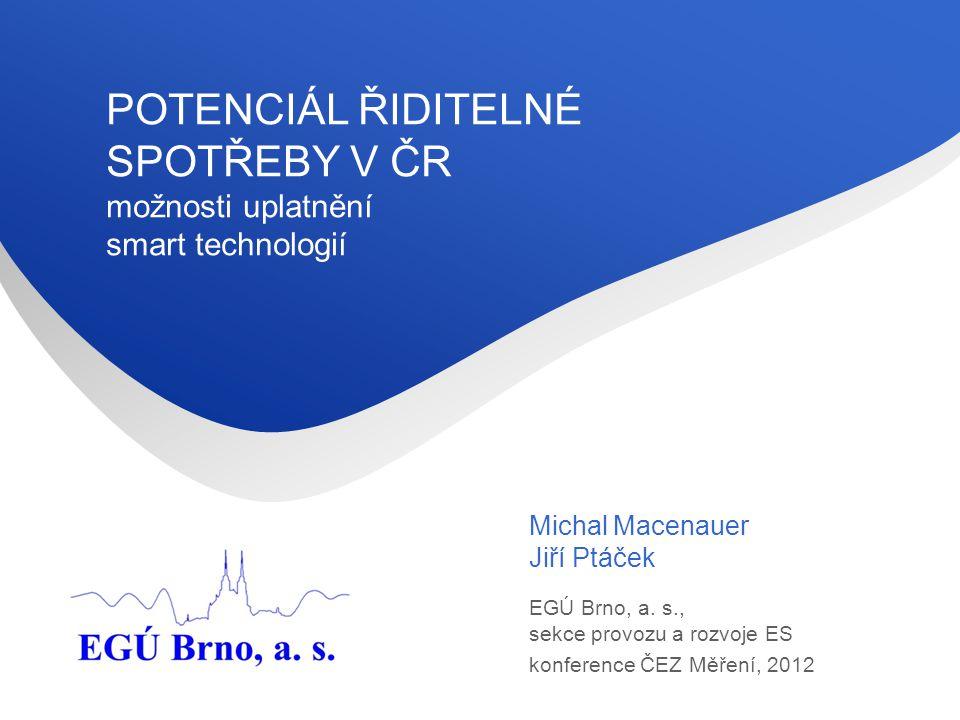EGÚ Brno, a.s. Sekce provozu a rozvoje elektrizační soustavy 2 EGÚ Brno, a.s.
