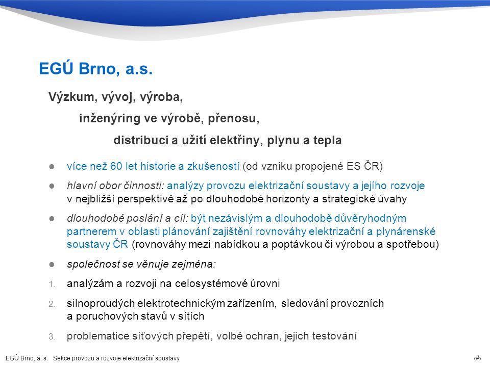 EGÚ Brno, a.s. Sekce provozu a rozvoje elektrizační soustavy 3 EGÚ Brno, a.s.