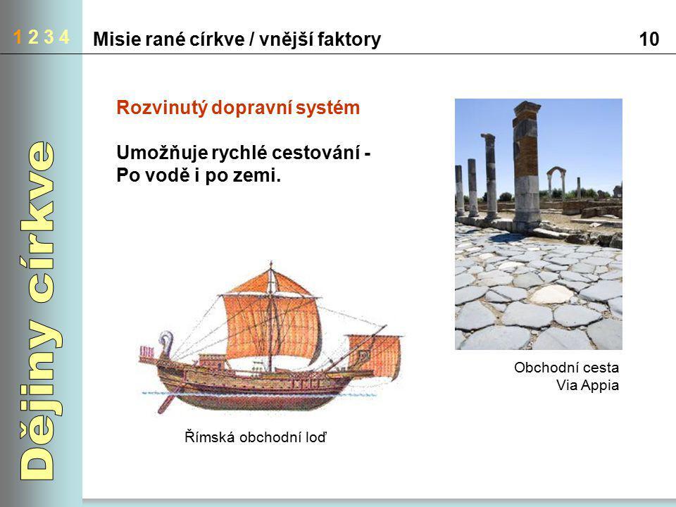 1 2 3 4 Misie rané církve / vnější faktory10 Rozvinutý dopravní systém Umožňuje rychlé cestování - Po vodě i po zemi. Obchodní cesta Via Appia Římská