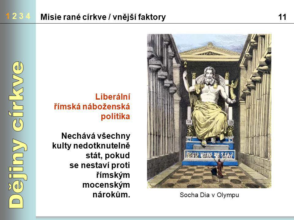 1 2 3 4 Misie rané církve / vnější faktory11 Liberální římská náboženská politika Nechává všechny kulty nedotknutelně stát, pokud se nestaví proti řím