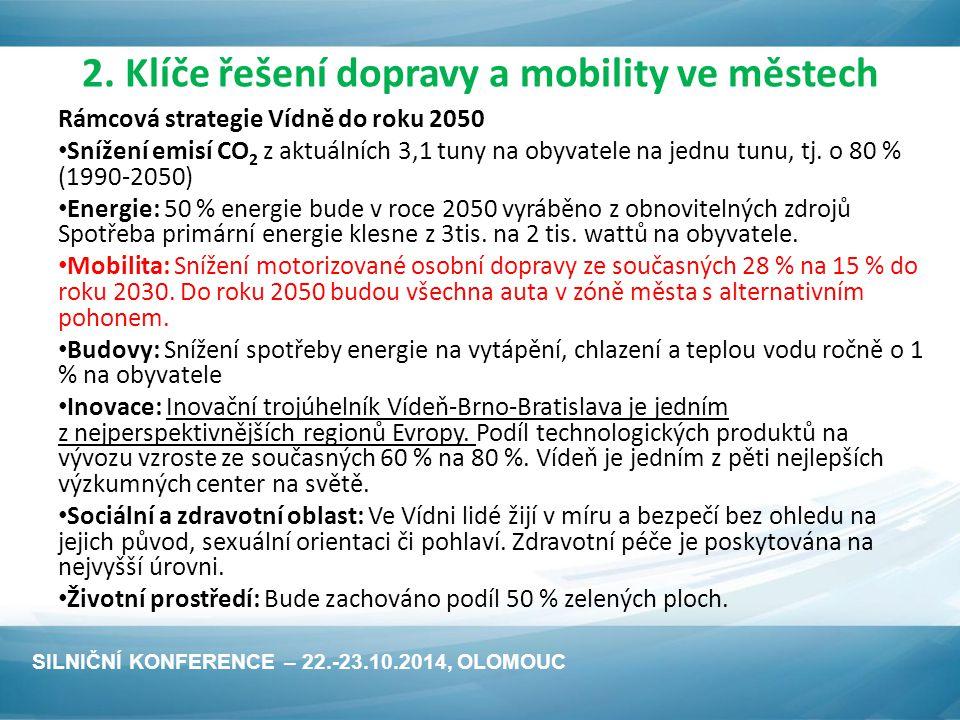 2. Klíče řešení dopravy a mobility ve městech Rámcová strategie Vídně do roku 2050 Snížení emisí CO 2 z aktuálních 3,1 tuny na obyvatele na jednu tunu