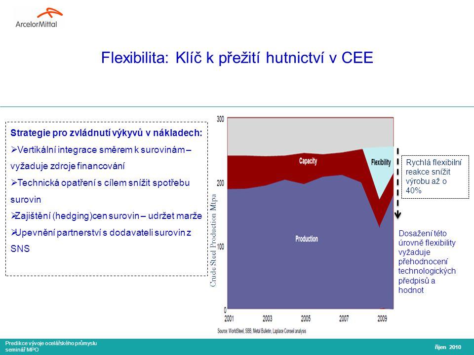 Predikce vývoje ocelářského průmyslu seminář MPO Flexibilita: Klíč k přežití hutnictví v CEE říjen 2010 Crude Steel Production Mtpa Dosažení této úrovně flexibility vyžaduje přehodnocení technologických předpisů a hodnot Rychlá flexibilní reakce snížit výrobu až o 40% Strategie pro zvládnutí výkyvů v nákladech:  Vertikální integrace směrem k surovinám – vyžaduje zdroje financování  Technická opatření s cílem snížit spotřebu surovin  Zajištění (hedging)cen surovin – udržet marže  Upevnění partnerství s dodavateli surovin z SNS