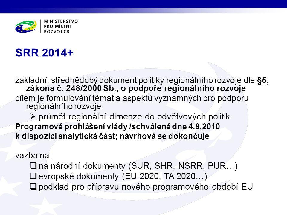 SRR 2014+ základní, střednědobý dokument politiky regionálního rozvoje dle §5, zákona č. 248/2000 Sb., o podpoře regionálního rozvoje cílem je formulo