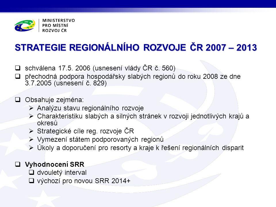STRATEGIE REGIONÁLNÍHO ROZVOJE ČR 2007 – 2013  schválena 17.5. 2006 (usnesení vlády ČR č. 560)  přechodná podpora hospodářsky slabých regionů do rok