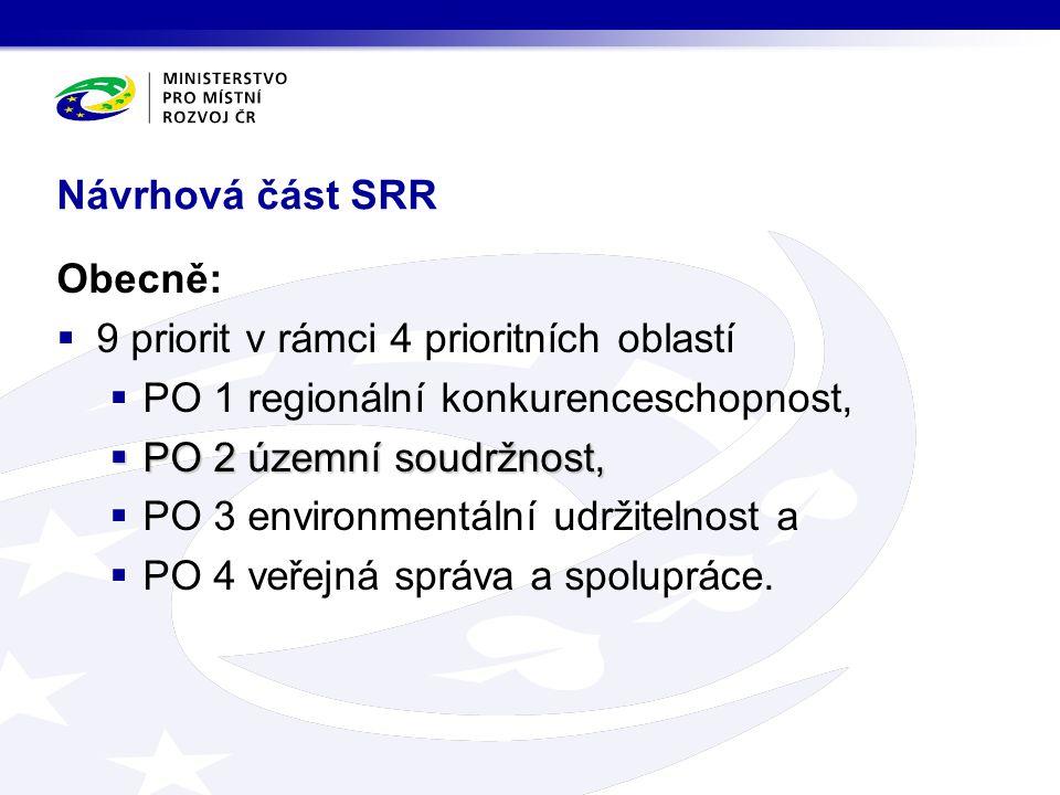 Návrhová část SRR Obecně:  9 priorit v rámci 4 prioritních oblastí  PO 1 regionální konkurenceschopnost,  PO 2 územní soudržnost,  PO 3 environmen