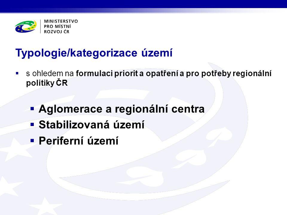 Typologie/kategorizace území  s ohledem na formulaci priorit a opatření a pro potřeby regionální politiky ČR  Aglomerace a regionální centra  Stabi