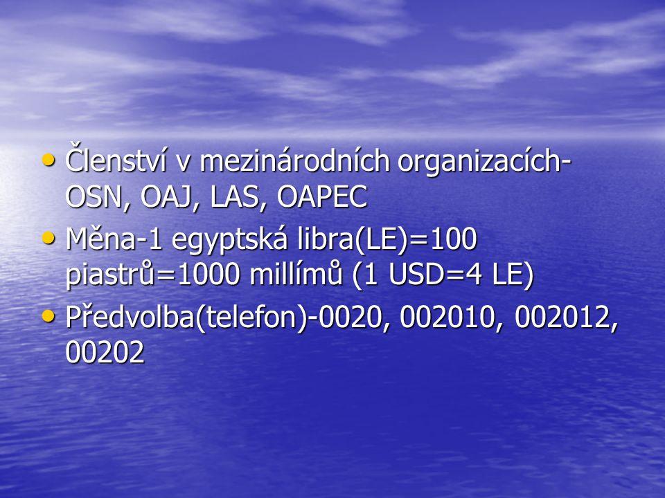 Členství v mezinárodních organizacích- OSN, OAJ, LAS, OAPEC Členství v mezinárodních organizacích- OSN, OAJ, LAS, OAPEC Měna-1 egyptská libra(LE)=100