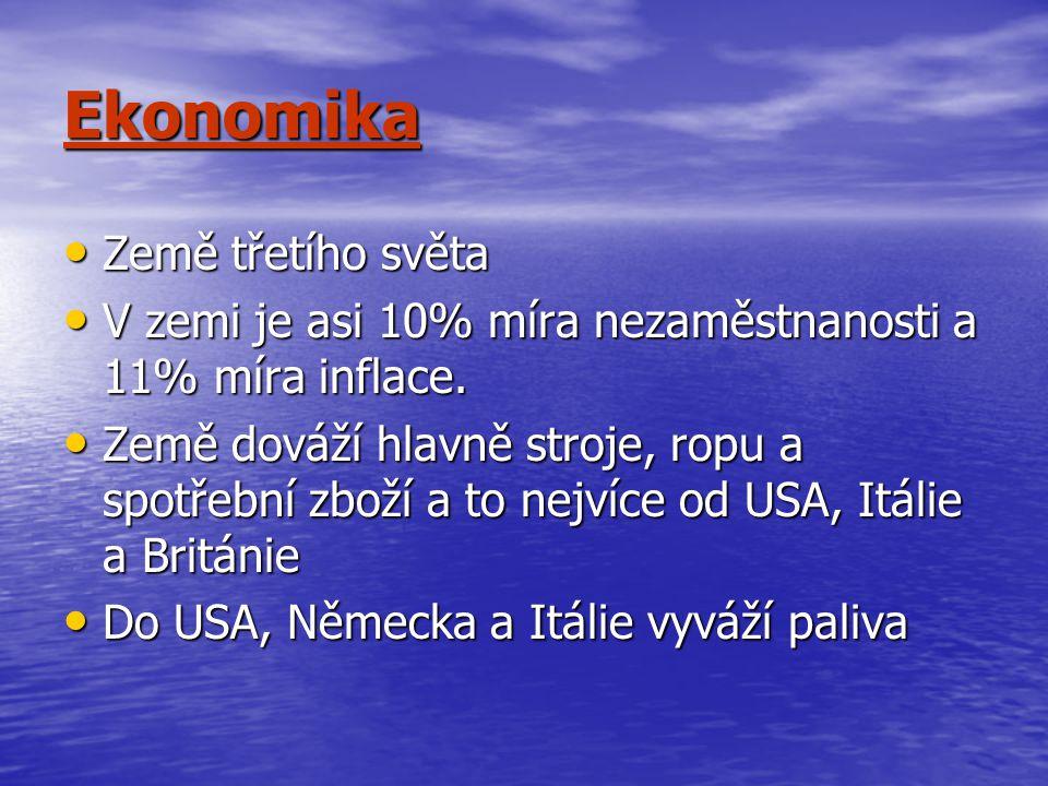 Ekonomika Země třetího světa Země třetího světa V zemi je asi 10% míra nezaměstnanosti a 11% míra inflace. V zemi je asi 10% míra nezaměstnanosti a 11