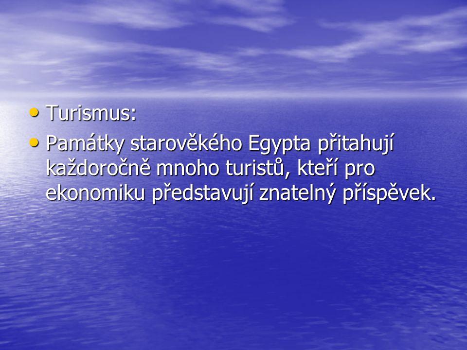 Turismus: Turismus: Památky starověkého Egypta přitahují každoročně mnoho turistů, kteří pro ekonomiku představují znatelný příspěvek. Památky starově