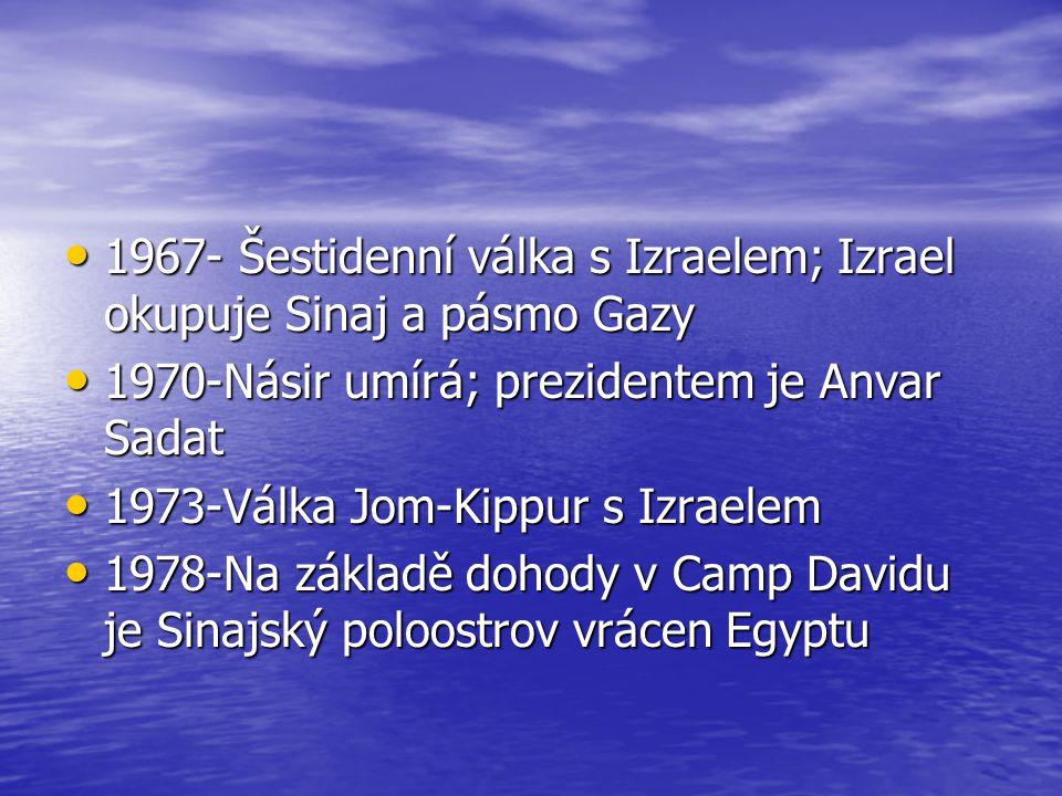 1967- Šestidenní válka s Izraelem; Izrael okupuje Sinaj a pásmo Gazy 1967- Šestidenní válka s Izraelem; Izrael okupuje Sinaj a pásmo Gazy 1970-Násir u