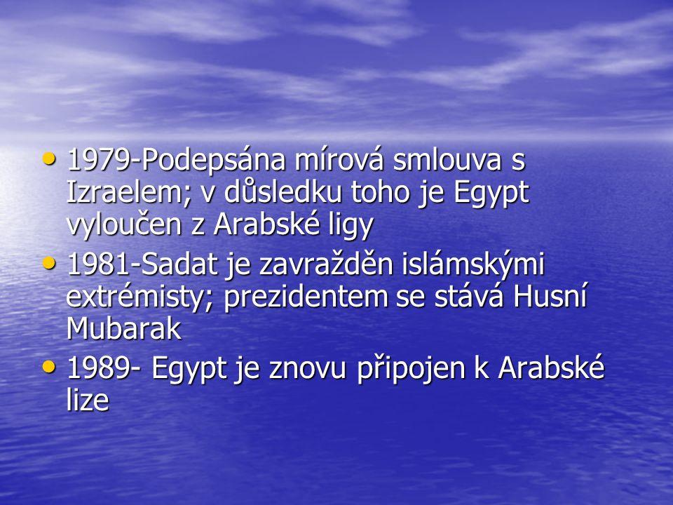1979-Podepsána mírová smlouva s Izraelem; v důsledku toho je Egypt vyloučen z Arabské ligy 1979-Podepsána mírová smlouva s Izraelem; v důsledku toho j