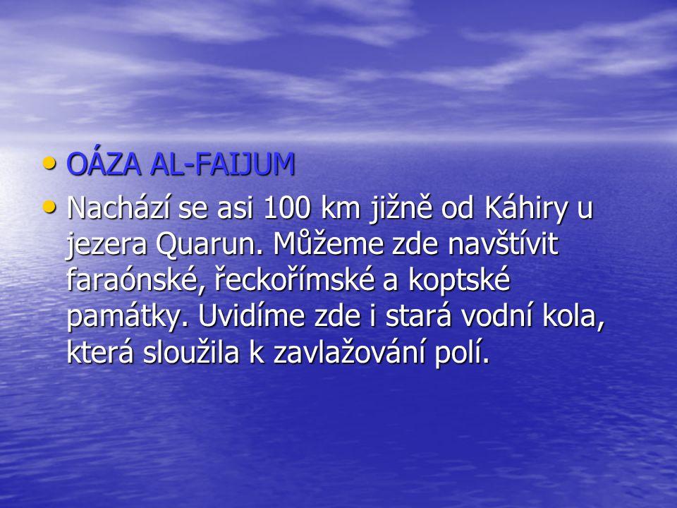 OÁZA AL-FAIJUM OÁZA AL-FAIJUM Nachází se asi 100 km jižně od Káhiry u jezera Quarun. Můžeme zde navštívit faraónské, řeckořímské a koptské památky. Uv